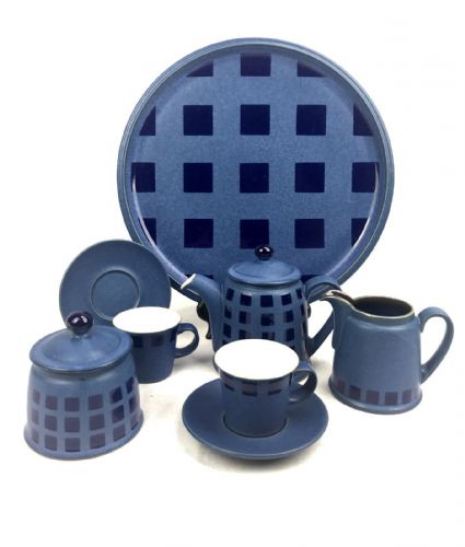 Denby Stoneware Coffee / Tea Set for Two People On Tray / Blue And Navy